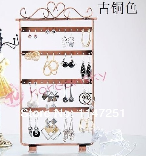 Free Shipping ! 1pcs/lot New Arrival Bronze Jewelry Earring Display , 48 Holes Earring Jewelry Display Metal Rack Stand Holder