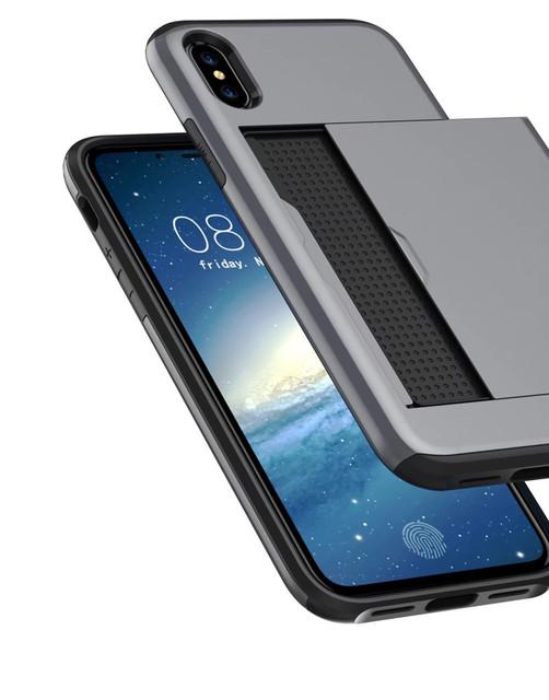 Hybrid Tough Armor Slide Card Holder Back Cover For IPhone