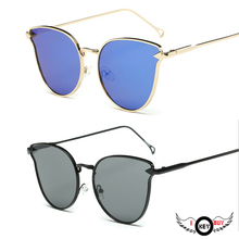 Flat Cat Lens Sunglasses Metal Arrows Color Film Sunglasses Europe and America Fashion Outdoors Men And Women Common Models cut out lens oversized metal square sunglasses