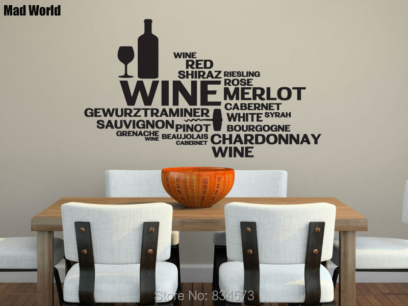 High Quality Mad World WINE Rose Alcohol Kitchen Wall Art Stickers Wall Decal Home DIY  Decoration Removable Room Decor Wall Stickers 57x98cm Part 24