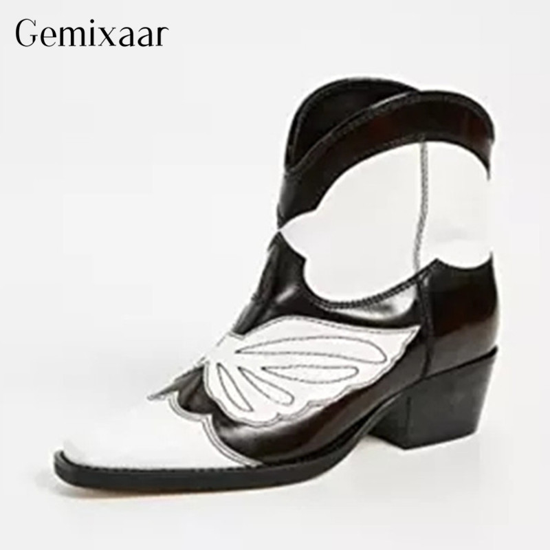 Hot Style Spring Woman Boots Pointy Toe Square Heels Bota Feminina Fashion Mixed Colors Real Leather Sewing Bow-Knot BotasHot Style Spring Woman Boots Pointy Toe Square Heels Bota Feminina Fashion Mixed Colors Real Leather Sewing Bow-Knot Botas