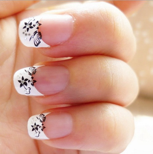 Nail Art 3d Stickers Decal French Tips Manicure White Black Flowers