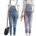 Mulheres Macacão Jeans jumpsuit 2016 Primavera Outono Ocasional Rasgado Buraco Calças Soltas Rasgado Bolsos Das Calças de Brim Macacão XL WT00194