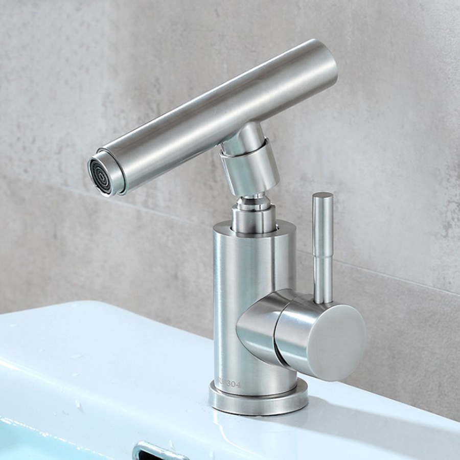 360 degree rotation Surface brushing Hot and cold basin faucet ceramic valve spool Bathroom kitchen 304