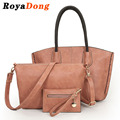 RoyaDong 2017 Vintage Pu Leather Women Composite Bags High Quality Shoulder Bag For Women Tote Bag Set For 3 Pieces