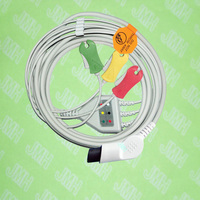 Compatible BCI,CSI,GE,Nellcor,Nihon Kohden and HP ECG Machine the one piece 3 lead cable and clip leadwire,IEC or AHA,bent 6pin.