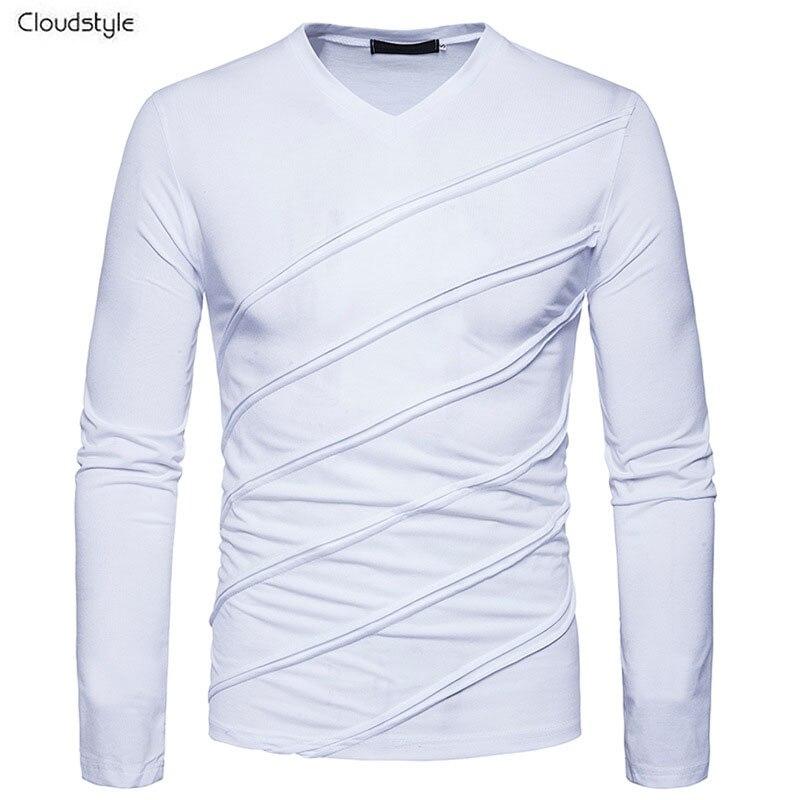 Cloudstyle Mâle Solide T-shirt De Mode Fold Conçu T Chemises Hommes Manches Longues Col V Casual Slim Fit Hommes Pur Couleur de Sport