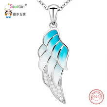 925 Sterling Silver Chain Cubic Zirconia Enamel Pendant Necklace Girl Fashion Jewelry Angel Wing Necklaces & Pendants For Women equte psiw264 stylish 925 sterling silver necklace w angel wing pendant for women silver 18
