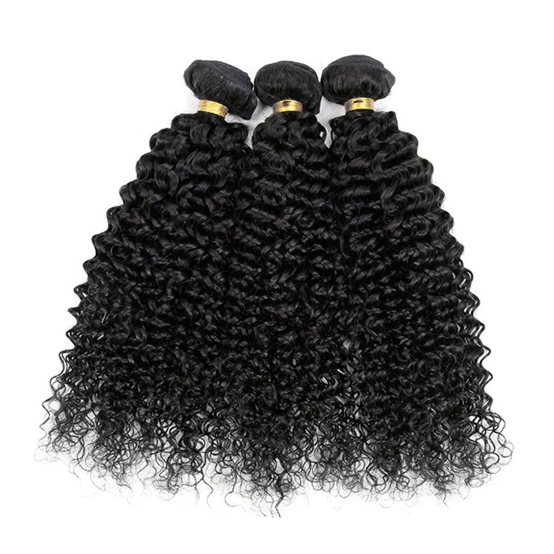 Pre Colored bundles with closure Kinky Curly #1B Non remy Brazilian bundles with closure-in 3/4 Bundles with Closure from Hair Extensions & Wigs    3
