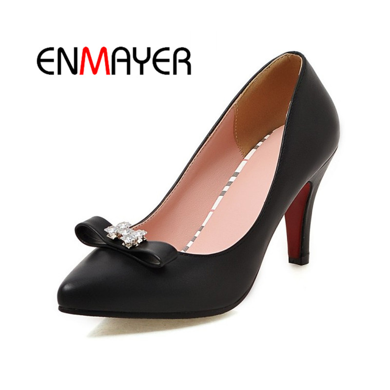 ENMAYER 2018 Spring New Fashion Woman Shoes Pointed Toe Casual Pumps Black White Pink Highquality Handmade Slip on Ladies Shoes enmayer high heels pointed toe spring