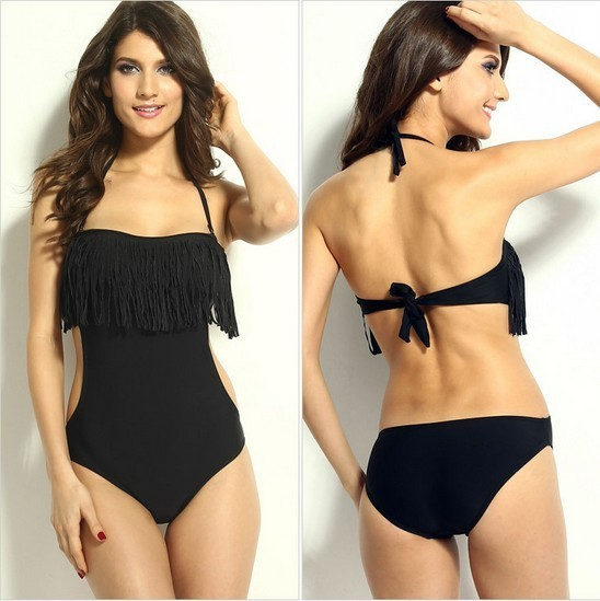 2015 Hot Sale One Piece Swimsuit Black Fringe Neckline Bandeau