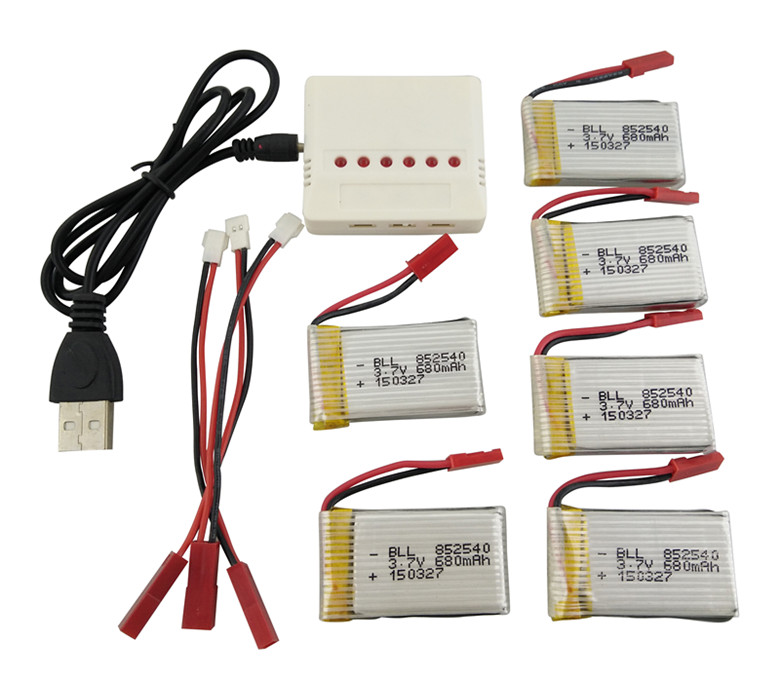 BLL Battery 6pcs 3.7V 680mAh LiPo Battery and 1x charger cable for FY550 F550 MJX X400 X800 JXD 509G 509W Camera RC Quadcopter 3pcs battery and european regulation charger with 1 cable 3 line for mjx b3 helicopter 7 4v 1800mah 25c aircraft parts