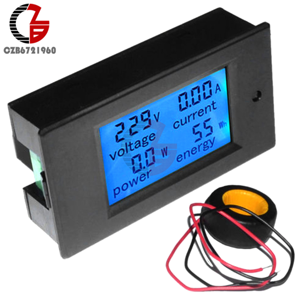 AC 80-260V 0-100A Digital Voltmeter Ammeter Power Energy Tester 110V 220V Current Voltage Meter Power Wattmeter Adapter Supply