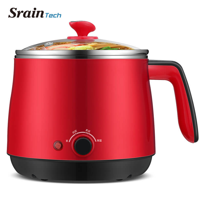 SrainTech Mini multi-cuisinières 1.5L de qualité alimentaire en acier inoxydable Hot Pot cuiseur électrique à la vapeur Pots à soupe parfait pour dortoir et maison