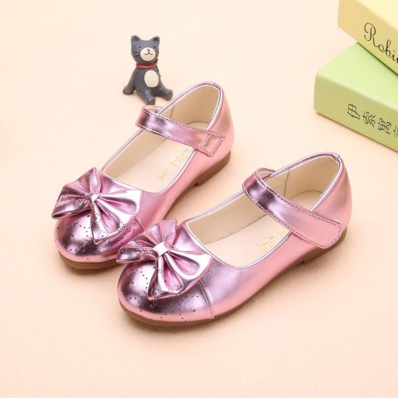Kids Girls Bowknot Wedding Party dress shoes princess Fashion for Dance girls Leather Shoes