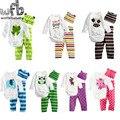 Retail 1-3years 3pcs/set 7patterns long-Sleeved t shirt+pants+hats Baby Infant cartoon bodysuits boys girls jumpsuits Clothing