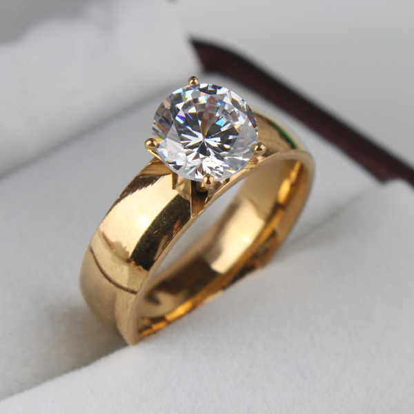 free shipping 6mm Light Zircon CZ  gold color 316L Stainless Steel finger rings men women  jewelry  wholesale lots