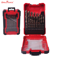 DRILLFORCE 19PCS HSS M35 Cobalt Drill Bit for Hardened Metal &Stainless Steel Drilling Bits Set 1.0~10mm Power Tools Accessories