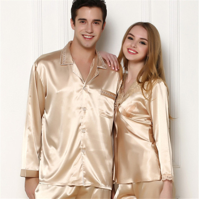 New Men s Silk Satin Pajamas Set Homewear long Sleeve Button Pajama Set  Sleepwear Loungewear Man Clothes ac20feffe