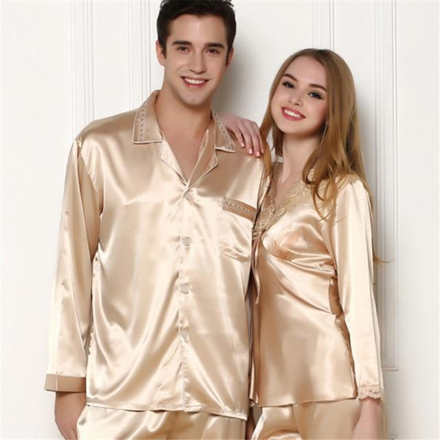 New Men s Silk Satin Pajamas Set Homewear long Sleeve Button Pajama Set  Sleepwear Loungewear Man Clothes fb10bd075