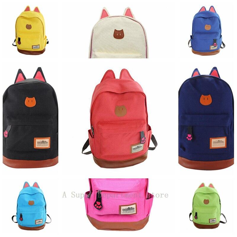 ABDB Canvas Backpack For Women Girls Satchel School Bags Cute Rucksack School Backpack children Cat Ear Cartoon Women Bag 9 colo simple cat print and canvas design satchel for women