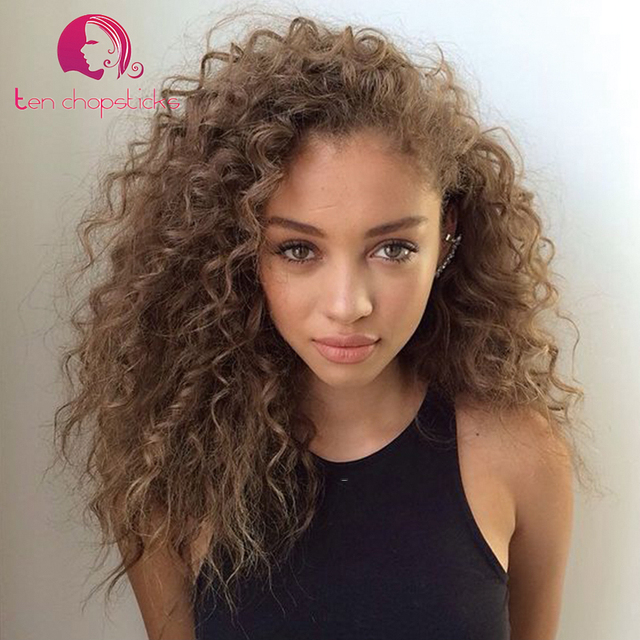 light ash brown full lace brazilian virgin wigs afro curly human