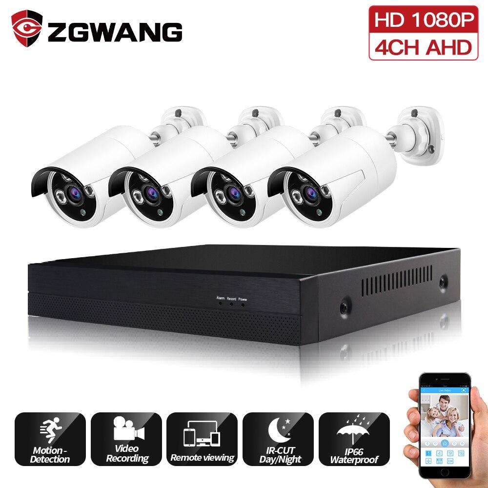 Kit de vidéosurveillance ZGWANG 1080 P 4ch système de caméra de sécurité à domicile en plein air Kit de vidéosurveillance DVR kit de caméra AHD 4 caméra analogique