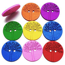 ZIEENE 5PCs 10PCs 25PCs 50PCs Mixed 7 Colors Dyed Laser Wisdom Trees Wooden Buttons 30mm Sewing Scrapbooking For Kids Handmade(China)