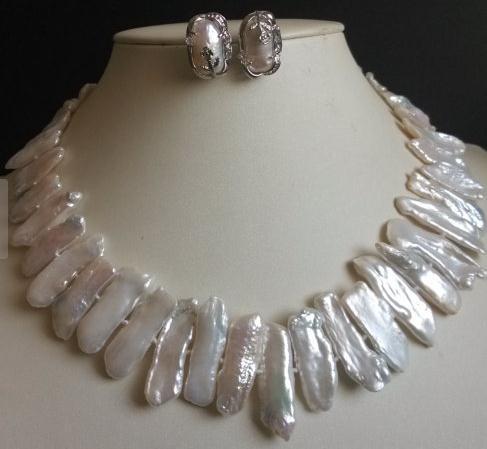 Perfect Pearl Jewelry Set 17inch Big 25-30mm AAA White Biwa Pearl Necklace EarringsPerfect Pearl Jewelry Set 17inch Big 25-30mm AAA White Biwa Pearl Necklace Earrings