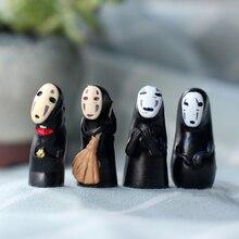4pcs Mini Faceless Man Fairy Garden Miniatures Decration Movie Figures Anime Doll Hayao Miyazaki Totoro Terrariums Figurine Toys