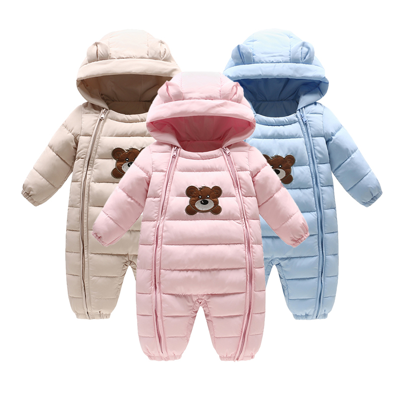 b4aad16ac1af Thick warm Baby infant rompers Winter clothes Newborn Baby Boy Girl ...