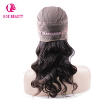 Hot Beauty Hair Brazilian Remy Hair Body Wave 360 ​​Lace Frontal Med Cap Pre Plucked Menneskehår Frontal 1PC