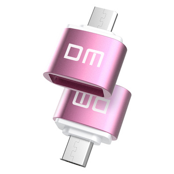DM OTG-B adaptor OTG function Turn normal USB into Phone USB Flash Drive Mobile Phone Adapters Pink
