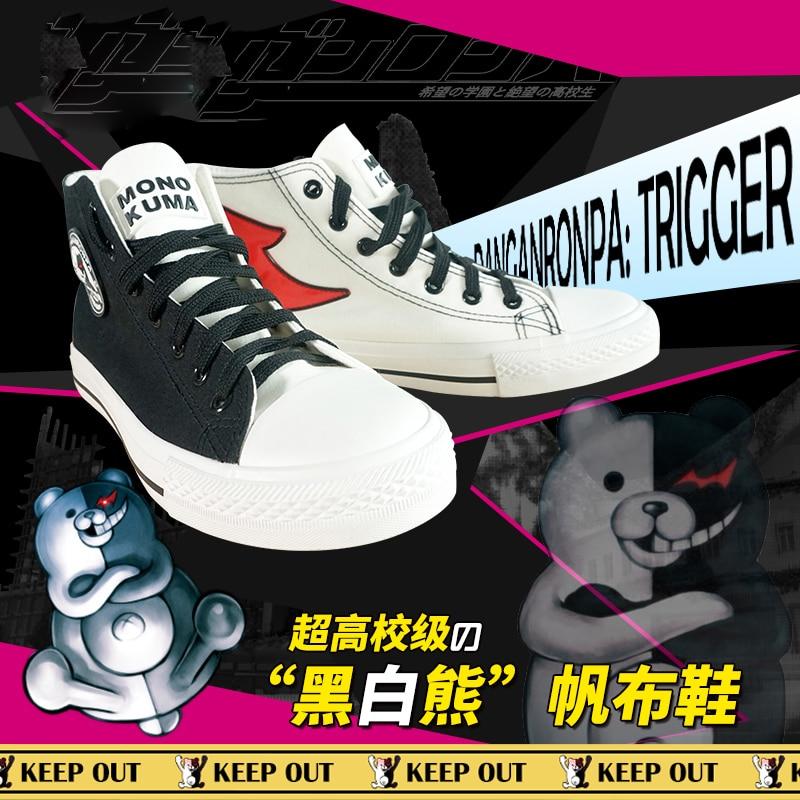 Japanese Anime Danganronpa 3 Monokuma Cosplay Shoes Canvas Casual Ankle Boots Women Men Student Dangan Ronpa