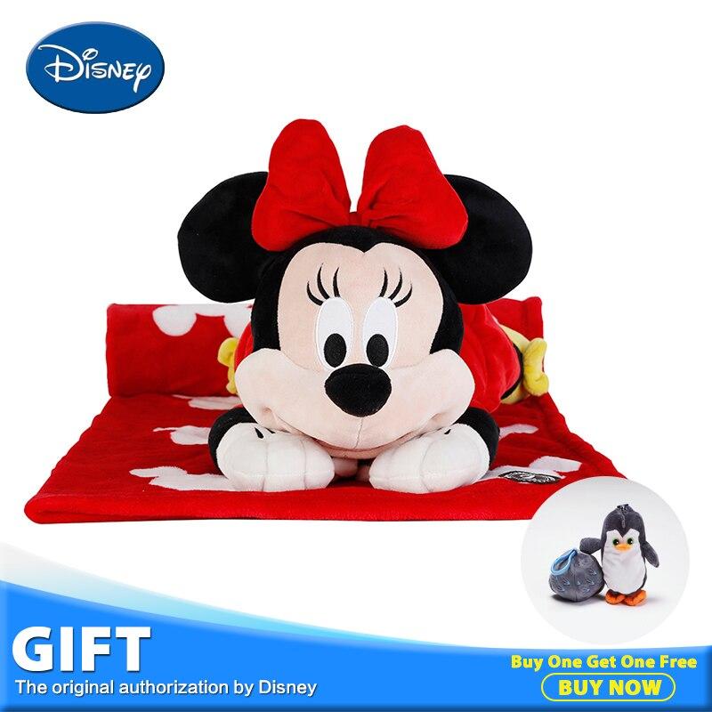 Disney 40cm Minnie Mouse Plush Stuffed Toy Sleeping Peluches Children Gift Lying Pillow Back Cushion Portable Rest Warm Blanket