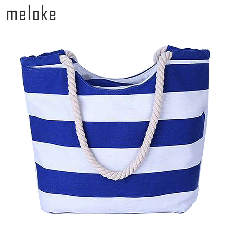 Meloke 2019 new Women Large Beach Canvas Bag Stripes Printing Handbags Red Summer Shoulder Bag Totes Casual Shopping Bags MN203Meloke 2019 new Women Large Beach Canvas Bag Stripes Printing Handbags Red Summer Shoulder Bag Totes Casual Shopping Bags MN203