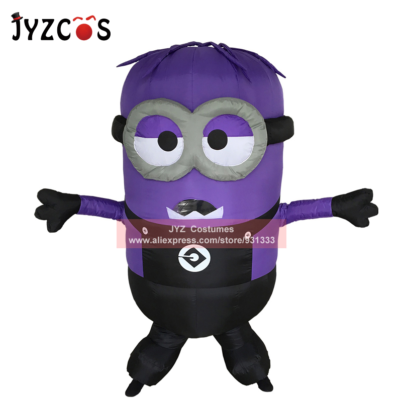JYZCOS Adult Minion Inflatable Costume Halloween Party Costume Double Single Eyes Minion Mascot Costume Carnival Purim Costume