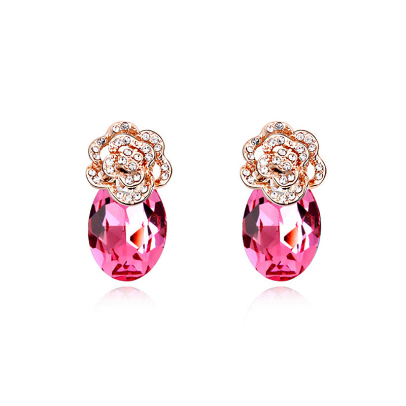 Gorgeous Mother's Day Gift Fashion Crystal Jewelry Sweet Pierced Rose Flower Stud Earrings for Woman Made with Swarovski Element