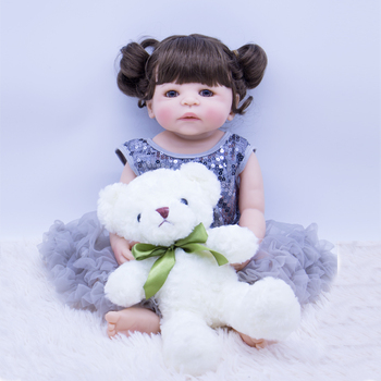22inch Silicone full Body Reborn Baby Doll Touch true hard Vinyl princess girl doll 55cm with plush toy for kids play house toy