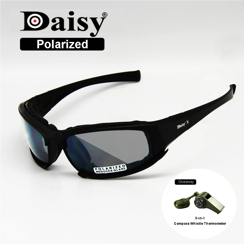 Polarized Daisy X7 Army Sunglasses Military Goggles 4 Lens Kit War Game Tactical Men s Glasses
