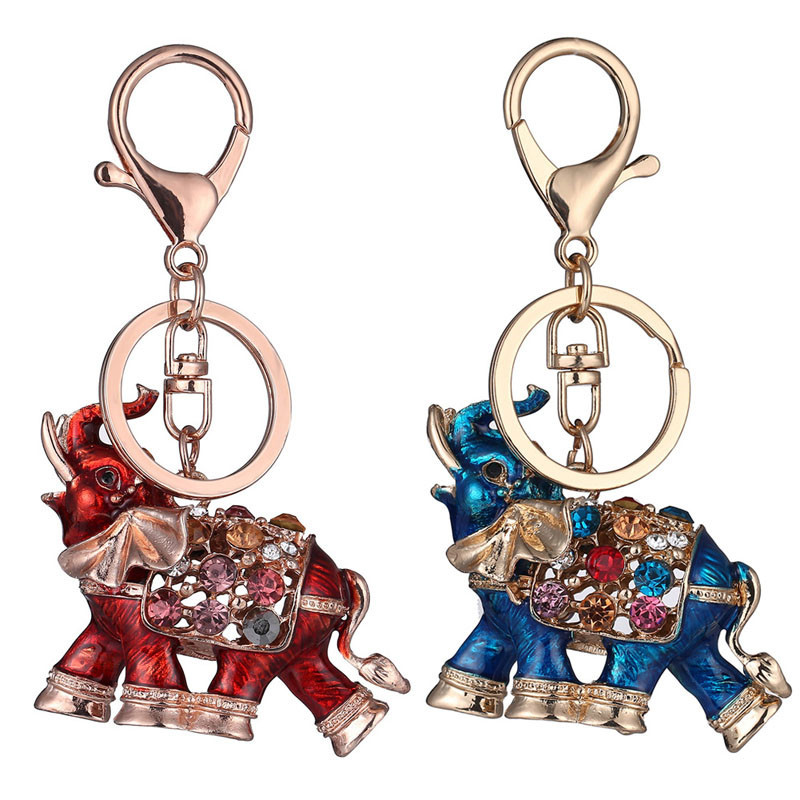 Elephant Hanging Key Ring Rhinestone Crystal Charm Pendant Key Chain Holder Buckle Hand Bag Pendant for Car Keyrings KeyChains