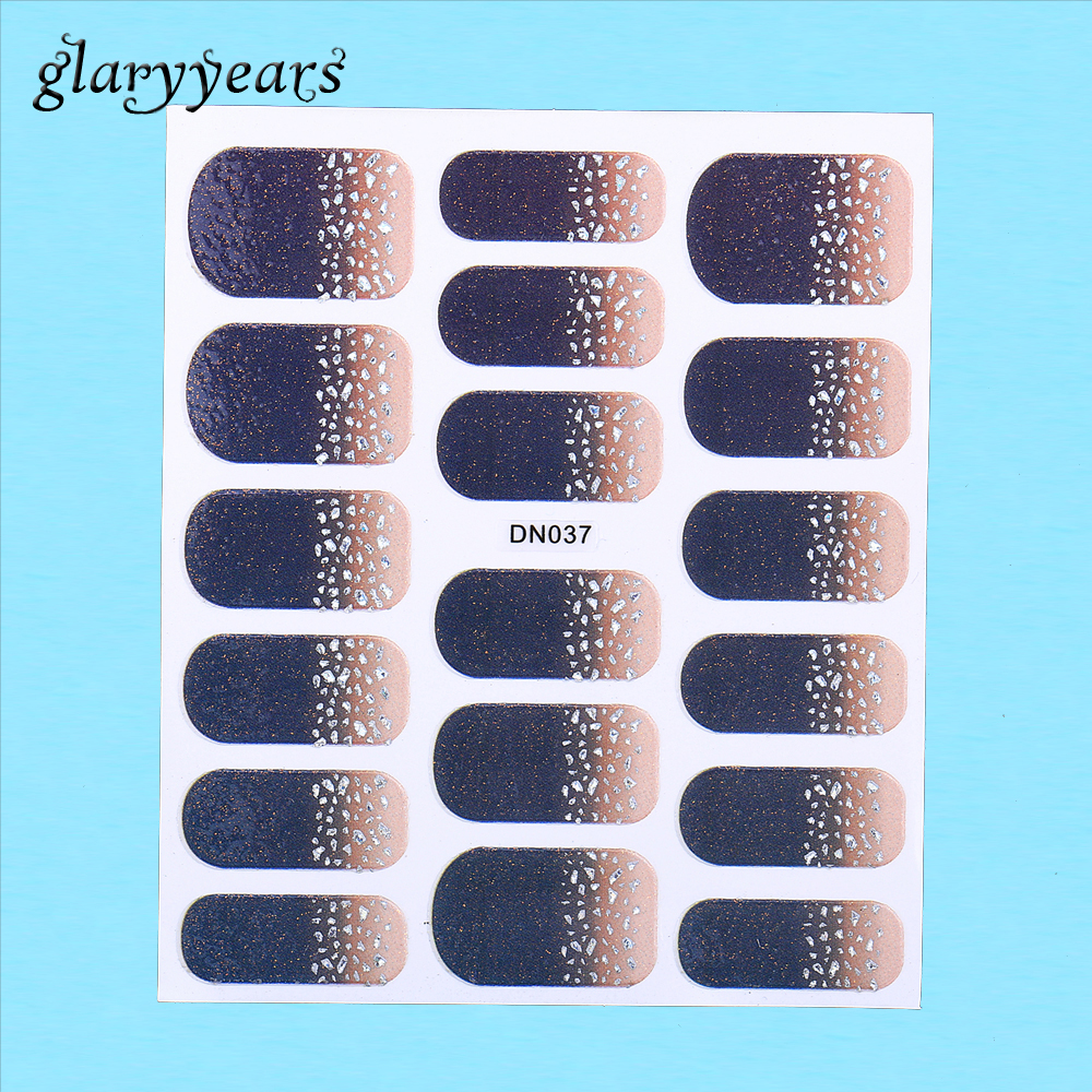 1 PC Women Nail Manicures Tool Gel Full Cover Wrap Decal Adhesive Nail Art Sticker Black Shiny Silver Pattern DN037 Nail Sticker