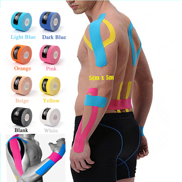 5cm x 5m Sports Kinesio Muscle Tape Kinesiology Tape Cotton Elastic Adhesive Muscle Bandage Care Physio Strain Injury Support