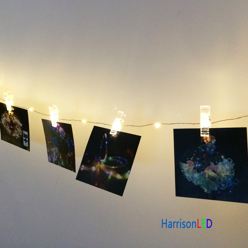 Christmas Lights Wall Clips : Aliexpress.com : Buy 10x 33ft 10m 100 LED copper wire photo hanging clips string lights fairy ...