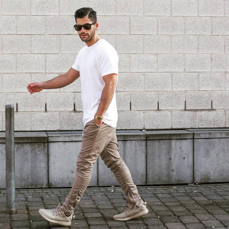 Justin bieber Siyah / Yeşil / Gri / haki yan fermuar harem pantolon - Erkek Giyim - Fotoğraf 4