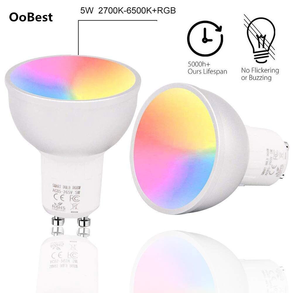 1/2/3/4 pces gu10 wifi inteligente lâmpadas led rgbw 5 w lampada app controle remoto pode ser escurecido bombillas trabalhar com alexa/google/ifttt
