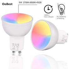 1/2/3/4pcs GU10 WiFi חכם LED נורות RGBW 5W מנורות Lampada APP מרחוק בקרת Dimmable Bombillas לעבוד עם Alexa/גוגל/IFTTT