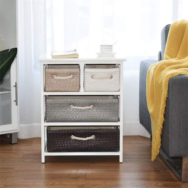 Storage Drawer Nightstand Woven Basket Cabinet Bedside Table White