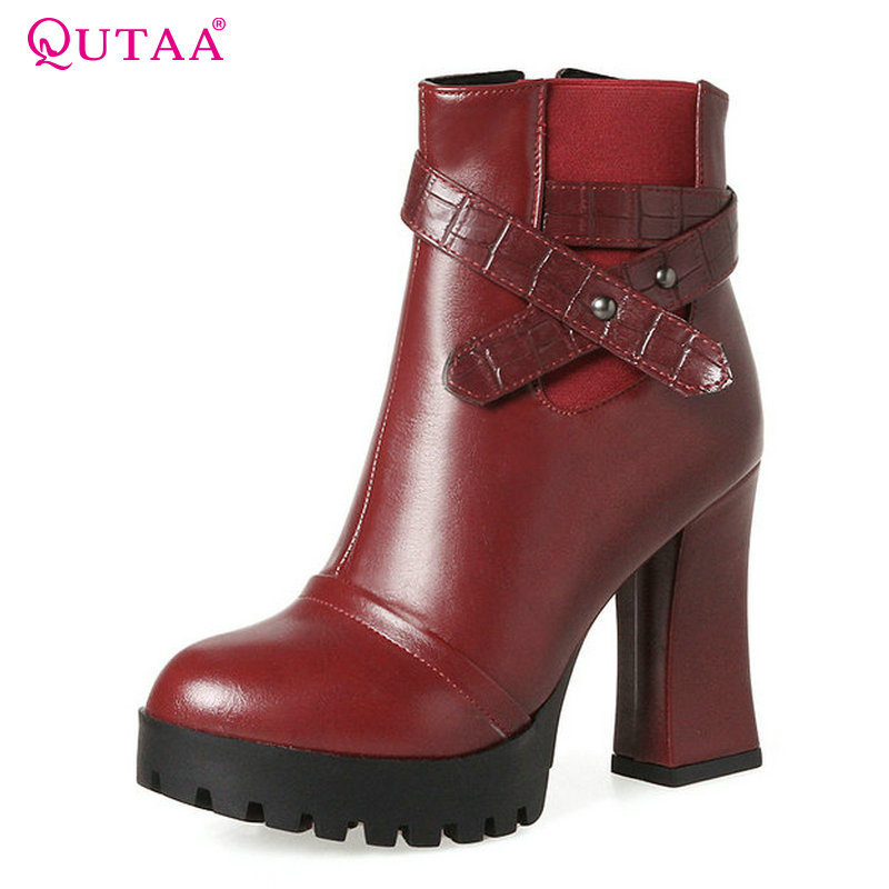 QUTAA 2018 Women Ankle Boots Westrn Style Round Toe Ladies Shoes Zipper Square High Heel Platform Women Boots Size  34-43 qutaa 2018 women ankle boots square high heel pointed toe zipper all match women shoes ladies motorcycle boots size 34 43