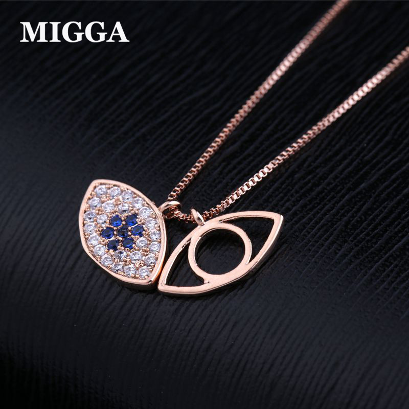 MIGGA Brand Rose Gold Color Turkish Evil Eye Necklace for Women Cubic Zirconia Necklace Hamsa Jewelry